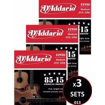 3 Sets Cuerdas D Addario Bronce Para Guitarra Acústica 013