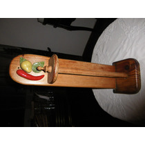 Porta Rollo Papel Cocina De Madera /adornos Ceramica