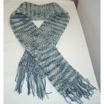 Bufanda Para Caballero Tejida Artesanal Gris/azul Matizada