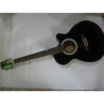 Guitarra Acustica Marca William Color Negro Cuerdas De Metal