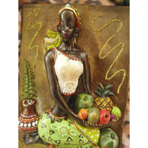 Par De Cuadros De Negras Africanas Pintadas Y Decoradas