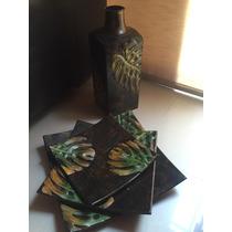 Hermoso Set Decorativo Jarrón Con 3 Platos De Metal Fino