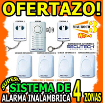 Wow Alarma Inalambrica 4 Sensores 2 Controles Secutech 4zona