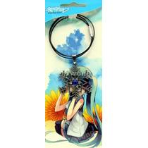 Collar Anime - Hatsune Miku - Flor De Nieve Con Piedra Azul