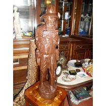 Escultura Antigua En Madera El Musico Altura 39cms Buen Esta
