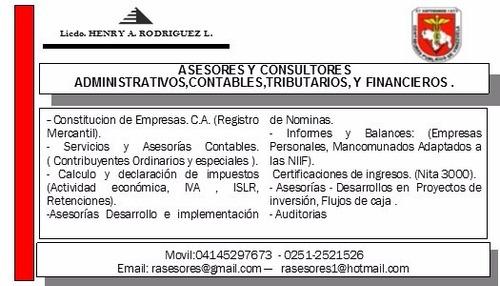 Asesores Y Consultores Administrativos,contables,tributarios