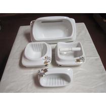 Accesorios Baño Cerámica P/empotrar Blancos Dec.tifany-4pzas