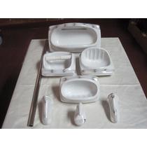 Accesorios Baño Cerámica P/empotrar Blancos Dec.200 -6 Pzas.
