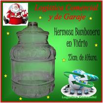 Hermosa Bombonera De Vidrio 27cm Alto Navidad Pasapalos