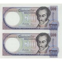 Pareja De Billetes De 500 Bs No Circulados 1998 Excelentes