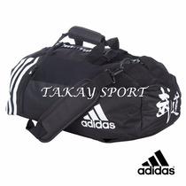 Bolso Morral Convertible Adidas Budo Kanji Negro Con Blanco
