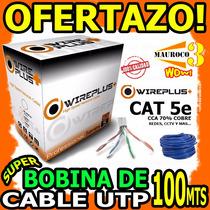 Wow Bobina De Cable De Red Utp 100mts Cat 5e Redes Cctv