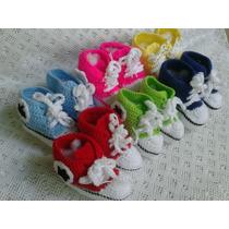 Zapatos Converse Tejidos Crochet Bebés Niños Niñas 3-6meses