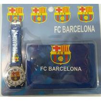 Cartera + Reloj De Niño Barcelona Real Madrid Carteras