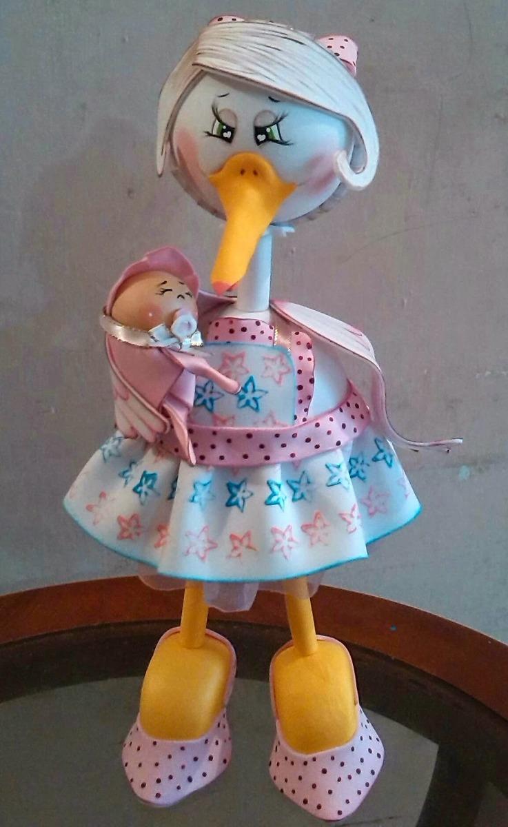 Cigueña 3d En Foami Muñeca Fofucha Baby Shower - Bs. 480,00 en
