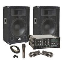 Combo Cornetas 15 Consola Amplificada Microfon Sound Barrier