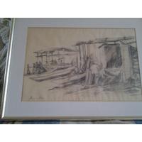 Cuadro Boceto De Norman Salas 1926-2012. Pescadores