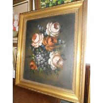Bello Cuadro Antiguo Flores De Alna Monta Bien Realizado