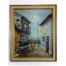 Cuadro Pintura Oleo Calle La Guaira Colonial Marco Antiguo