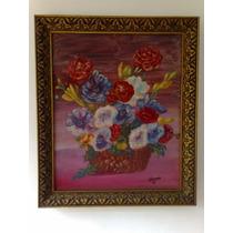Cuadro Marco Antiguo Pintura Al Oleo Cesta Con Flores