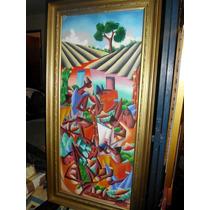 Cuadro Pintura Naif Del Afamado Pintor Leon Avril Montado