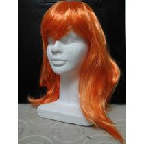 Peluca Naranja Sintetica 38cm Para Disfraces Cosplay