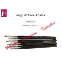 Juego De 7 Pinceles Chatos Rectos Jh Nails