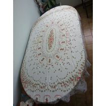 Mantel Tejido Con Adornos Florales 120x180cm Con Servilletas