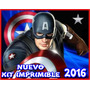 Kit Imprimible Capitan America Invitaciones + Candy Bar