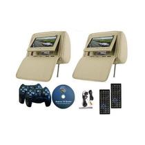 Dvd Apoya Cabeza Color Beig Con 2 Audifonos 2 Controles