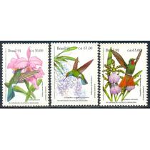 Estampillas Brasil Serie De 3 Val 1991 Orquídeas Y Colibrí