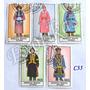C35 Estampillas Mongolia 5 Valores Vestimenta Tradicional
