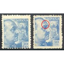 2 Estampillas España 1940 - 1945 Error Una Con Ceja Partida