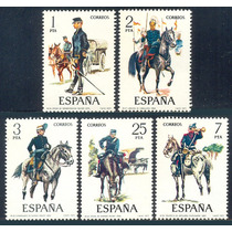 Estampillas España Serie 5 Valores 1977 Uniformes Militares