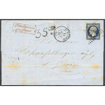 Francia Sobre Circulado 1857 Matasello Fraqueo Insuficiente