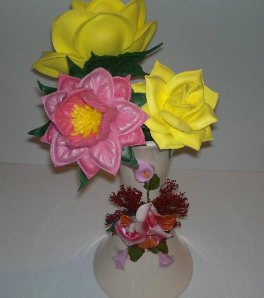 Flores Rosas Crisantemos En Foami Termo Formado Pequeñas - BsF 40 ...