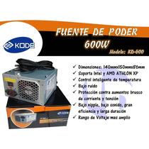 Fuente De Poder Kode 600w 20+4 Pines Sata Con Su Cable