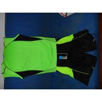 5 Conjunto De Short Y Franela Negro Con Verde Fluorescente