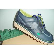 Zapato Kickers En Cuero Talla 37 Color Azul Caribe Unisex