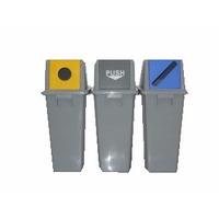 Papelera De Reciclaje Kit 3 Und (papel/botella/organico) 60l