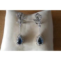 Elegantes Zarcillos En Plata Legítima 925 C/ Circones Azules