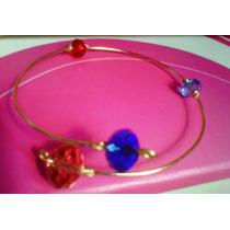 Pulsera Ajustable Espiral Oro Laminado Piedras Cristales