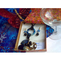 Collar Cuero Negro Doble Pied Agata Zarcillos Y Dij Oro Lam.