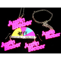 Combo Justin Bieber:collar-pulsera-zarcillos Púrpura