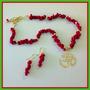 Collar Rojo Coral Picado Juego Con Zarcillos Simbolo Om Dije