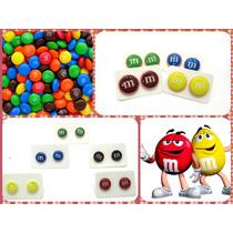 Zarcillos M&m Chocolate Candy Accesorios Moda Cotillón