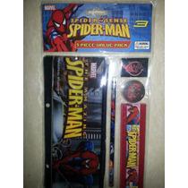 Set Escolar De 5 Piezas Spiderman, Ben 10 Y Cars Para Niños