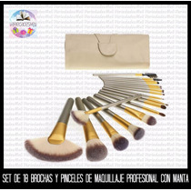 Set Luxury De 18 Brochas De Maquillaje Profesional Con Manta