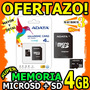Wow Memoria Microsd 4gb Adata + Sd Sellada En Blister Unicas