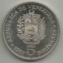 Moneda 5 Bolívares 1987 Fuerte De Níquel